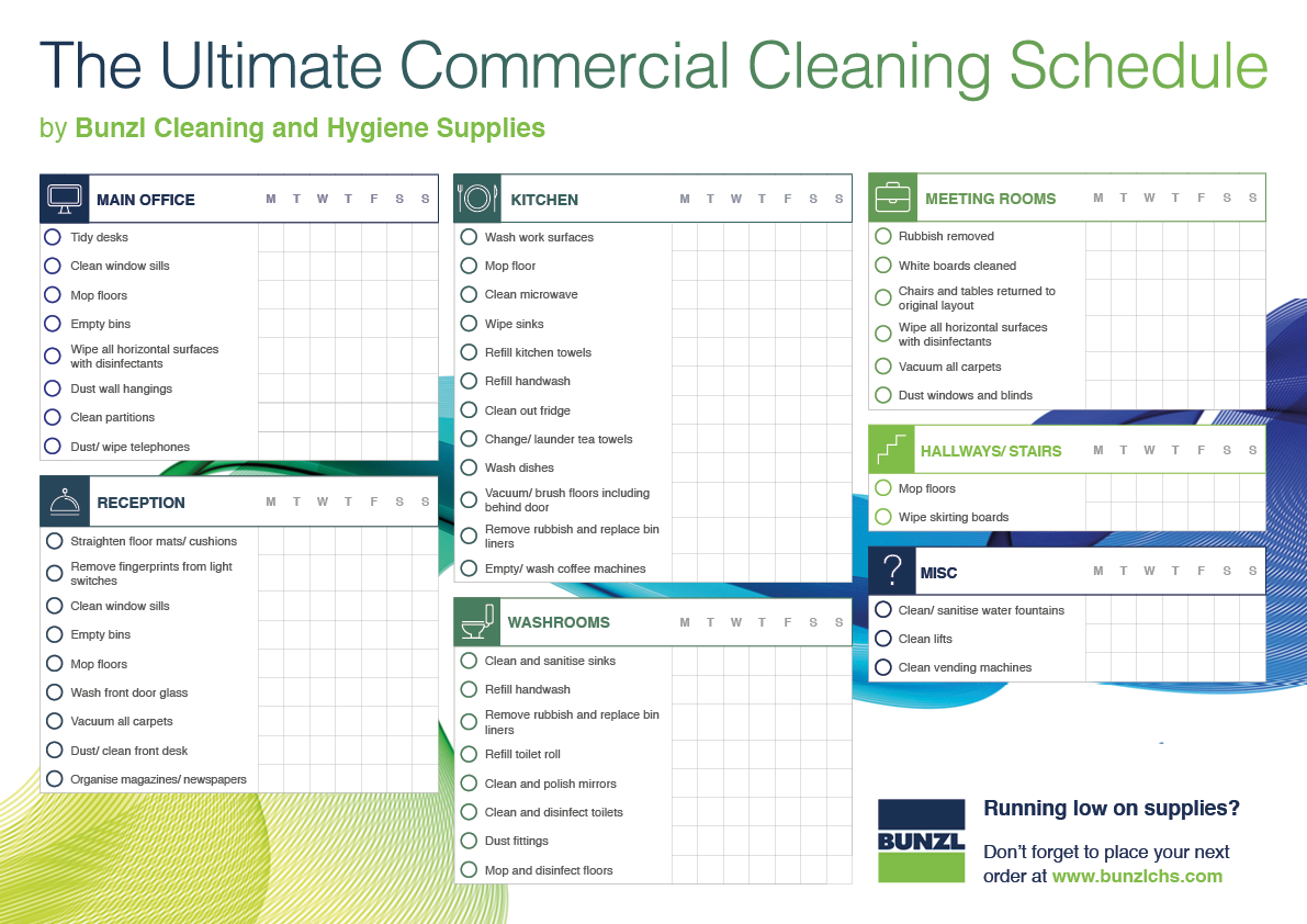 blog bunzlchs com commercial cleaning schedule template bunzl cleaning