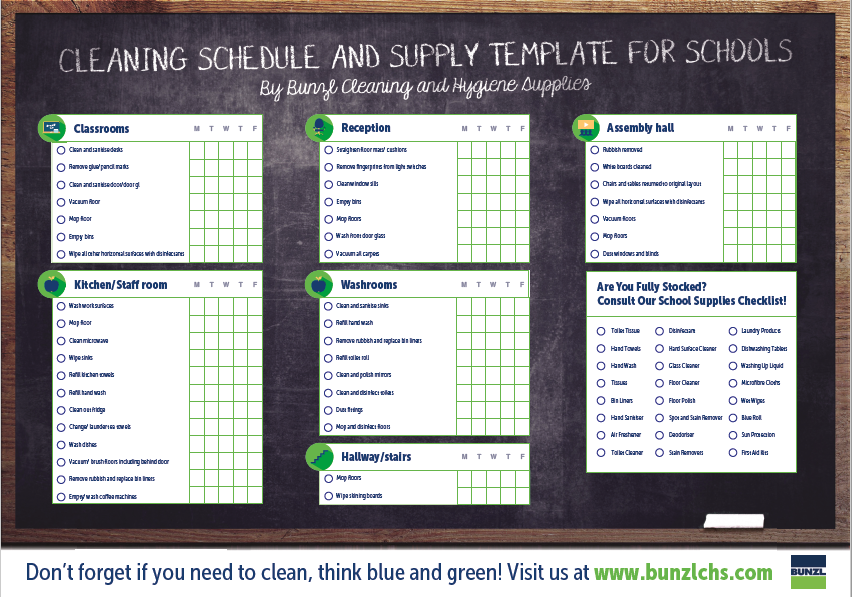 Free cleaning schedule and supply template for schools