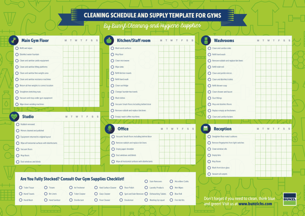 Download Cleaning Schedule And Supply Template For Gyms. Land Sale Contract Template. Resumes And Cv Templates. Pastry Chef Resume Sample Template. Free Research Poster Templates. Daily Meeting Agenda Template. Letter Of Business Introduction Template. Simple Monthly Profit And Loss Statement Template. Resume Of Business Development Manager Template