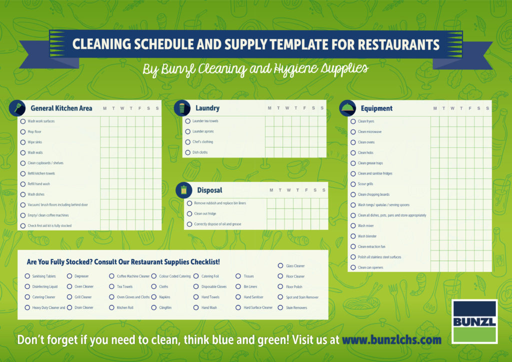 Download cleaning schedule and supply template for for Janitorial schedule template