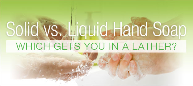 Title picture for a blog post comparing solid hand soap with liquid hand soap