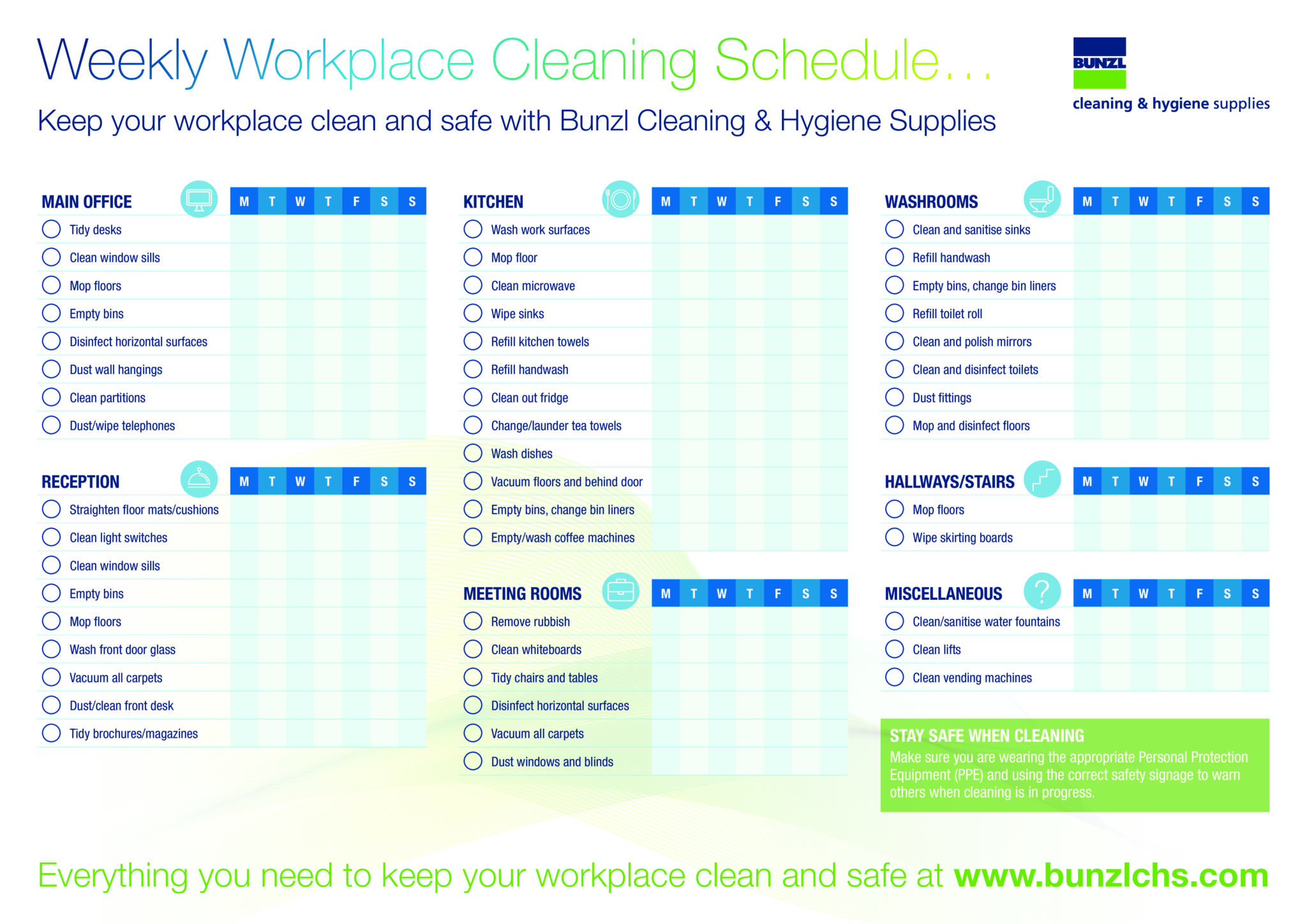 DOWNLOAD: Cleaning schedule for your workplace - BUNZL ...