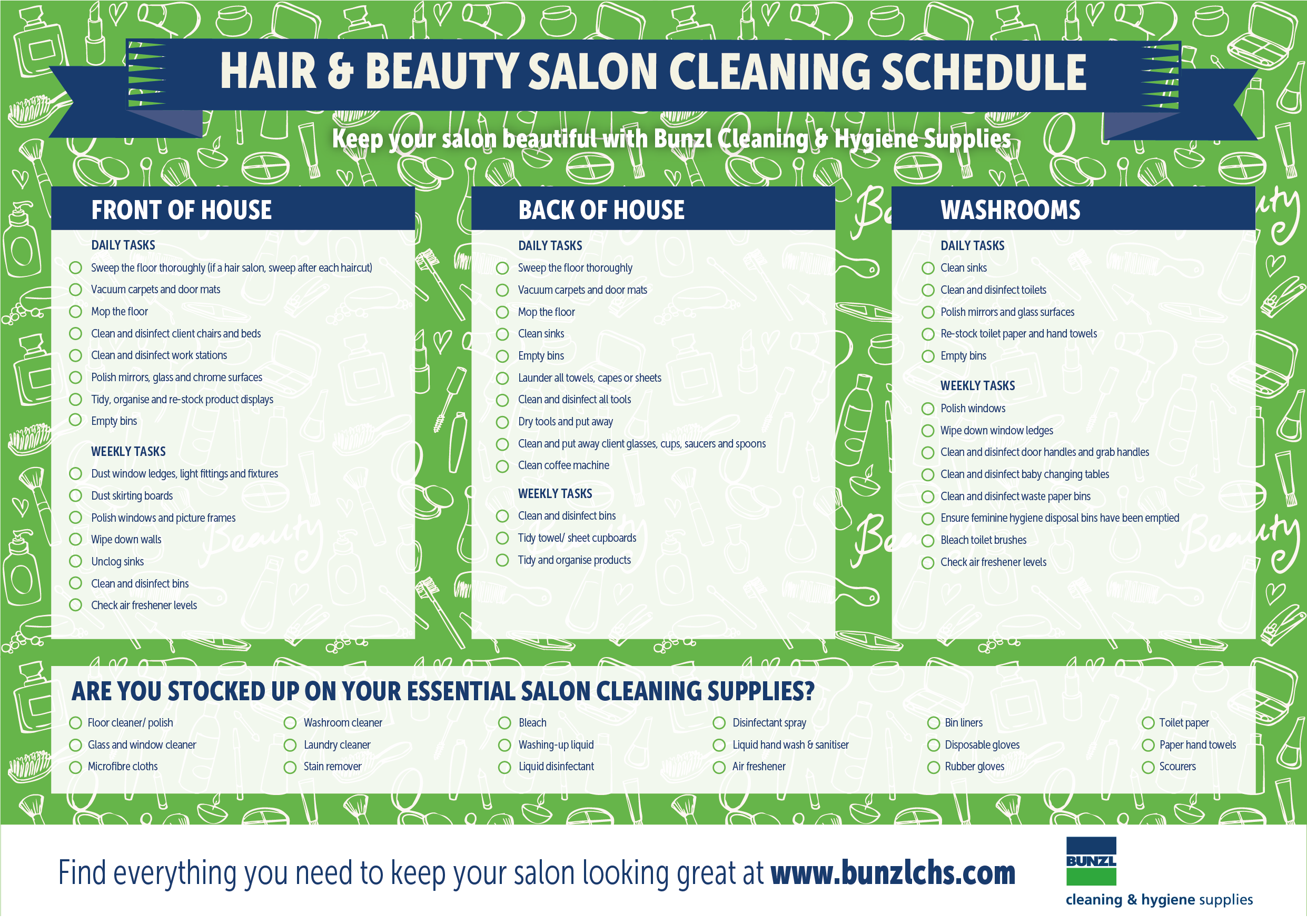 Download Cleaning Schedule And Supply Template For Hair And Beauty
