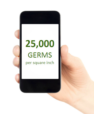 with 25,000 germs per square inch, mobile phones carry 10 TIMES more bacteria than most toilet seats